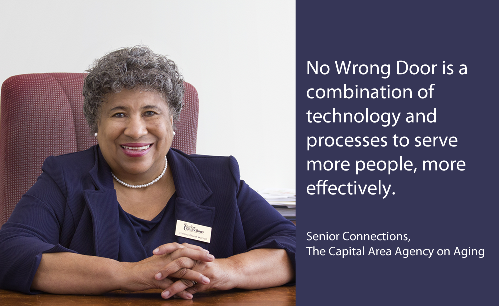 Photo with caption: No Wrong Door is a combination of technology and processes to serve more people, more effectively.